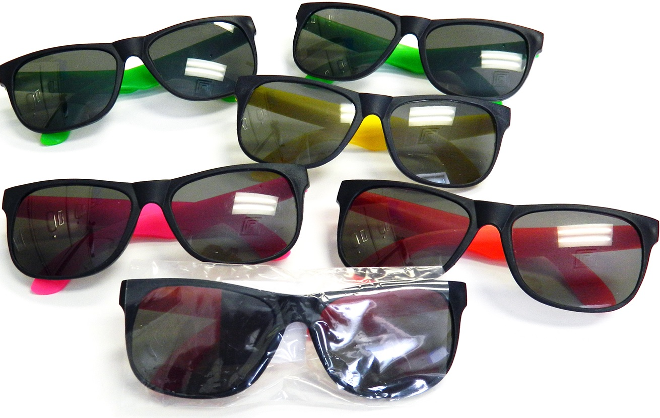fe76429829a Plastic Sunglasses With Neon Sides Custom