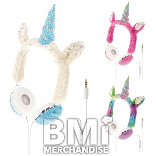 UNICORN PLUSH HEADPHONES WITH IN LINE MICROPHONE